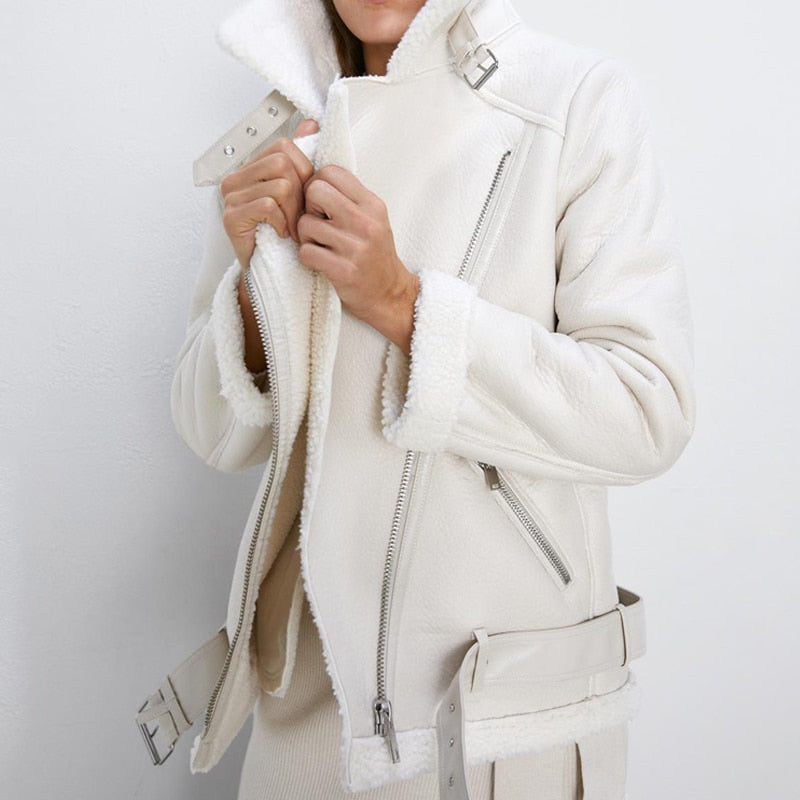Vegan Leather Sherpa Aviator Jacket