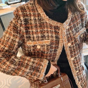 Ribbon Lace  Coffee Tweed Jacket