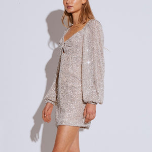 Lantern Sleeves Sequin Mini Dress