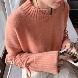 Lace Up Sleeves Sweater