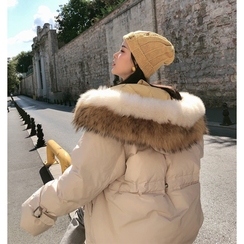 Faux Fur Collar Duck Down Mid Long Coat