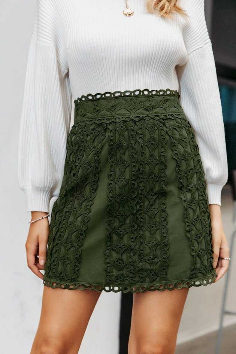 Pine Green Lace Embroidery Skirt