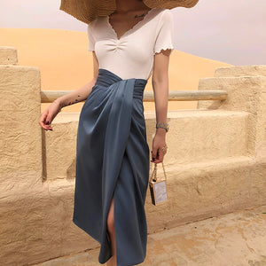 Satin Side Slit Draped Skirt - Blue