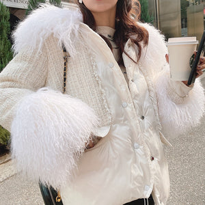 Feather Trimmed Tweed Down Jacket