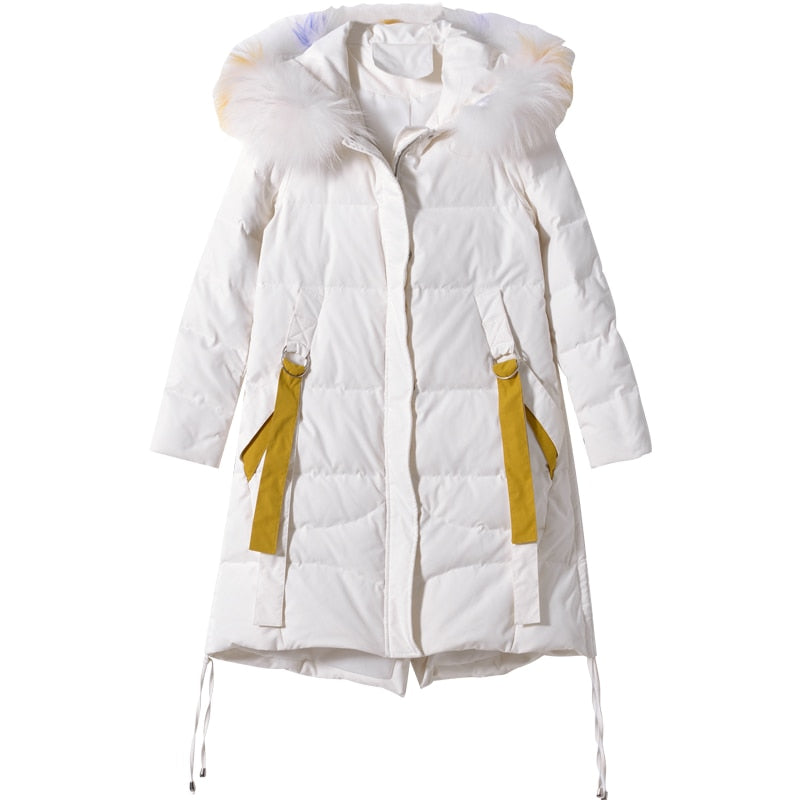 Slim Fit Fur Collar Down Jacket