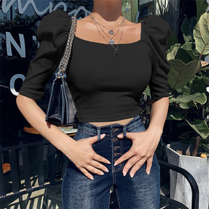 Puff Sleeve Slim Top