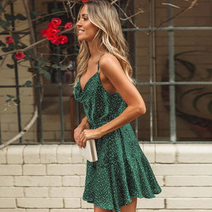 Emerald Polka Dot Stain Dress