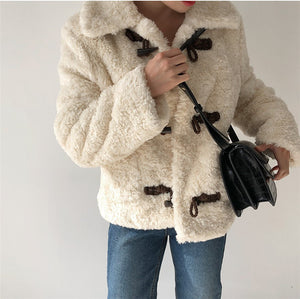 Creme Straight Fit Toggle Teddy Coat