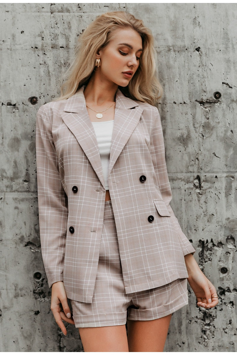 Plaid Blazer Shorts Suit Set