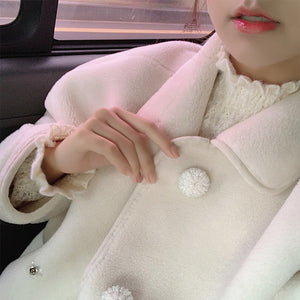 White Long Fleece Coat with Crochet Buttons