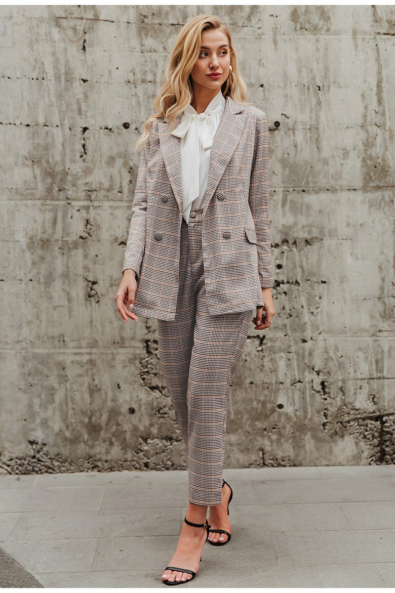 Khaki Plaid Loose Fit Blazer Suit Set