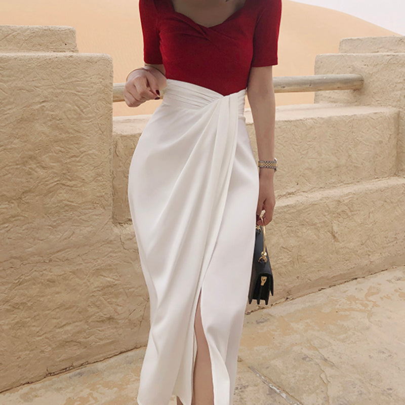 Satin Side Slit Draped Skirt - White