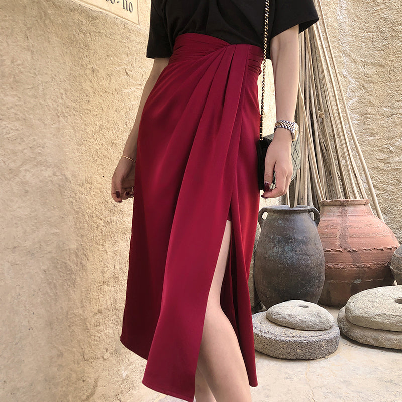 Satin Side Slit Draped Skirt - Red