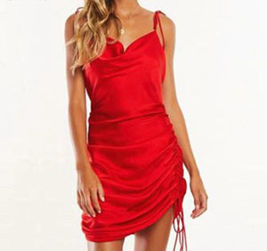 Satin Draped Neck Drawstring Strap Dress