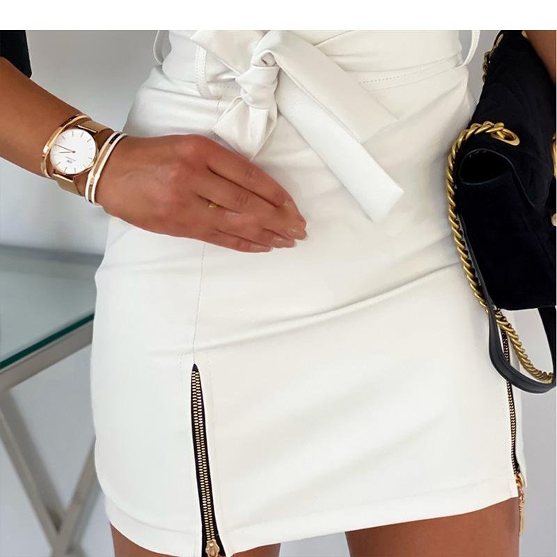 Zipper Slit Vegan Leather Mini Skirt