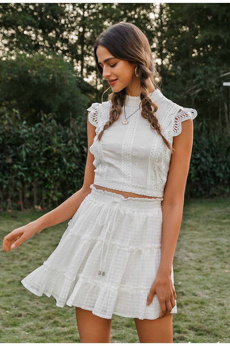 White Lace Ruffle Cropped Top and Skirt Set