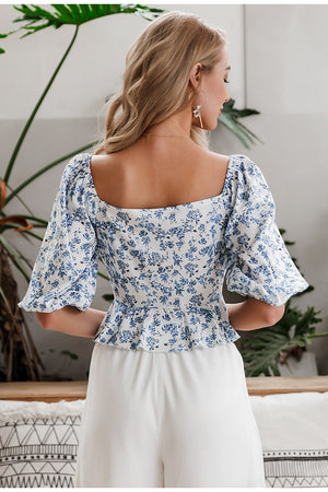 Biscus Floral Front Bow Blouse