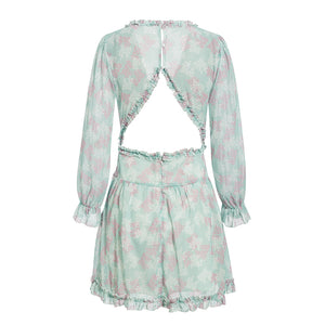 Chantae Ruffle Chiffon Dress Green Floral