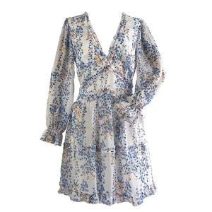 Chantae Ruffle Chiffon Dress Blue Floral