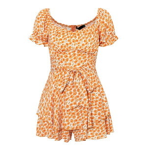 Papaya Flower Romper Dress