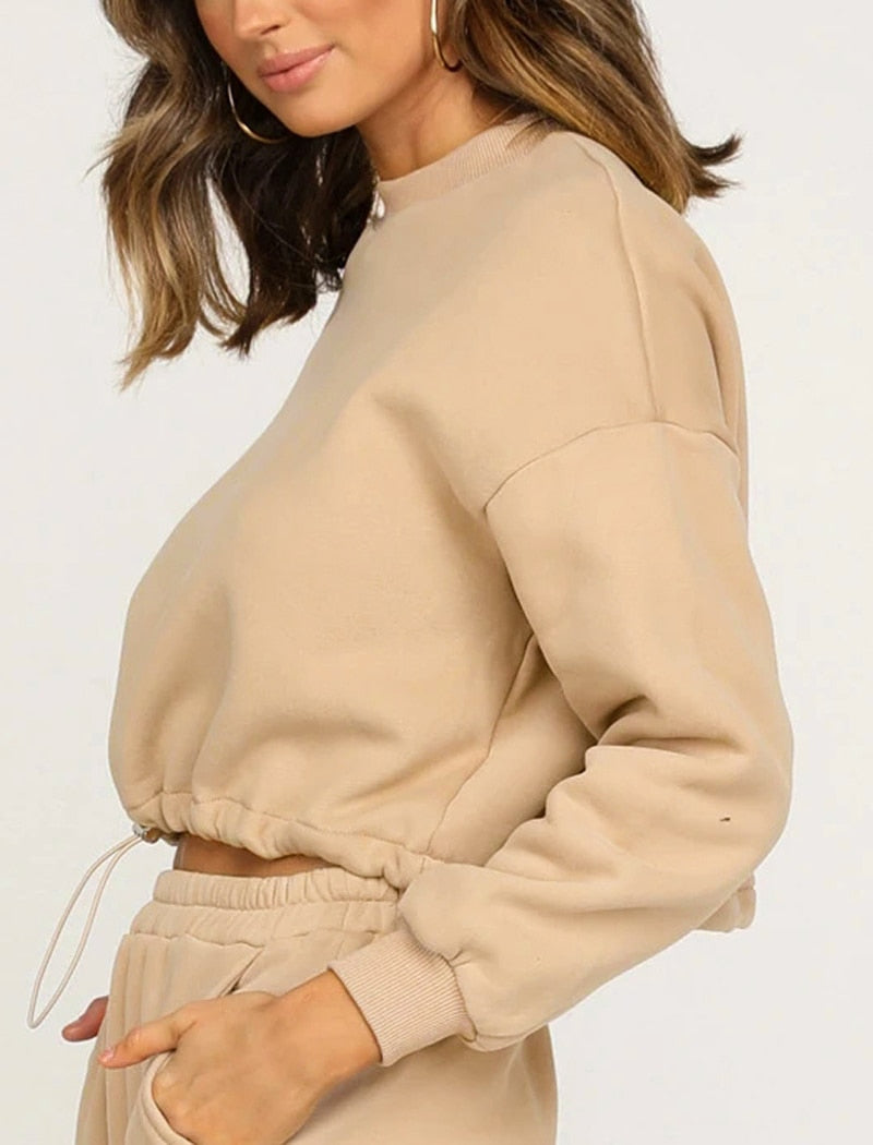 Candy Drawstring Crop Sweatshirt