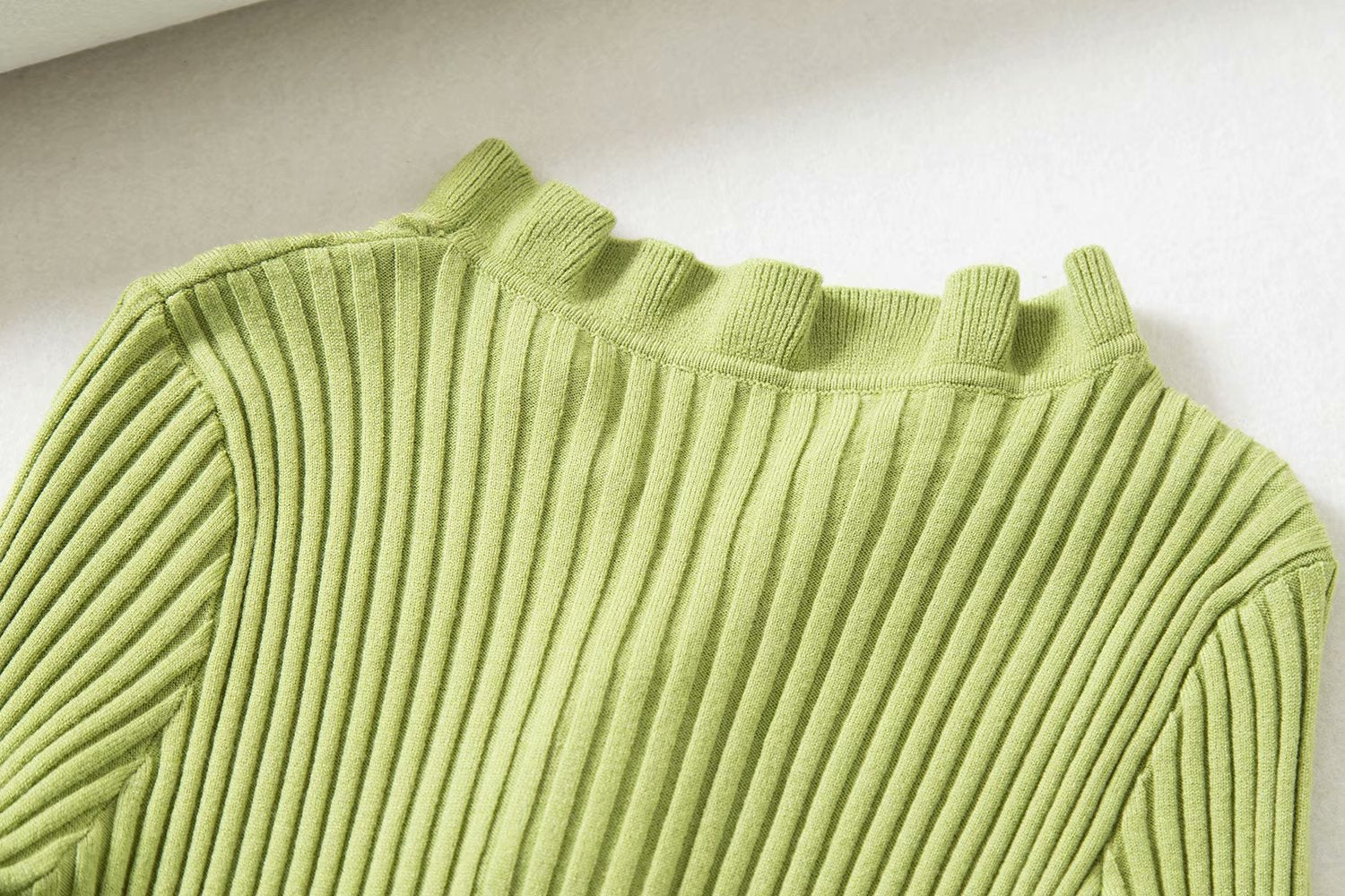 Candy Ruffle Ribbed Knitted Cardigan