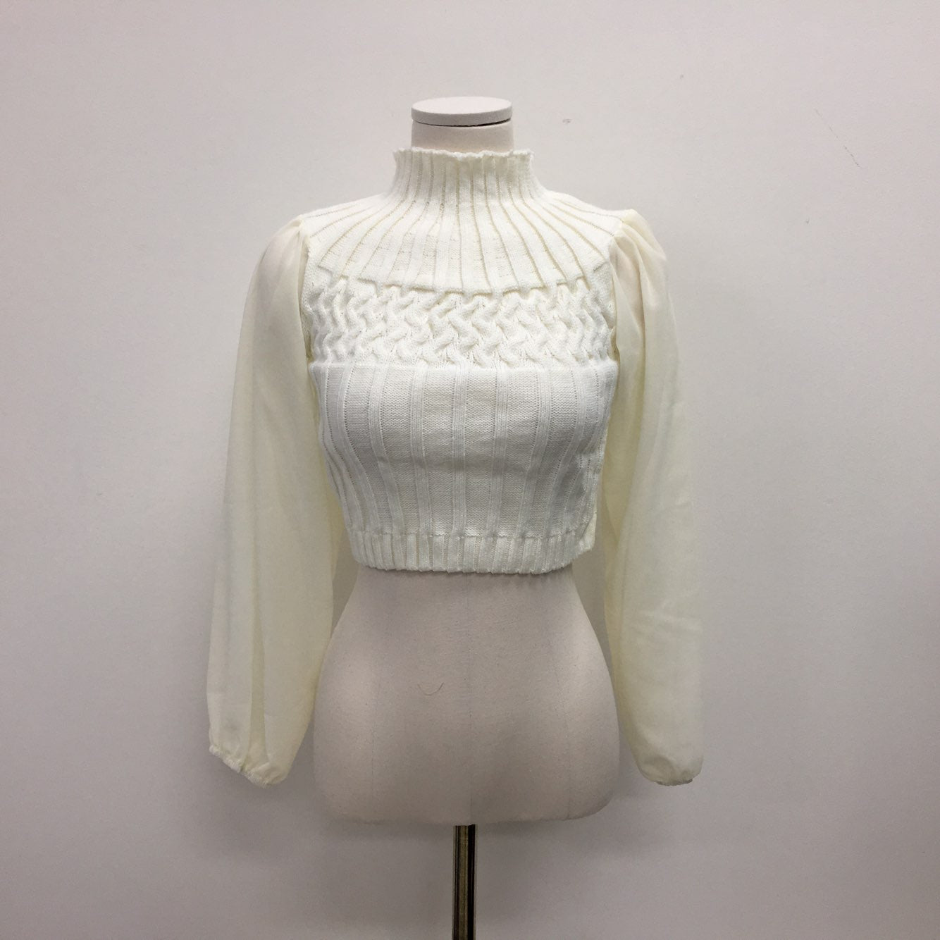 Mock Neck Chiffon Sleeves Sweater