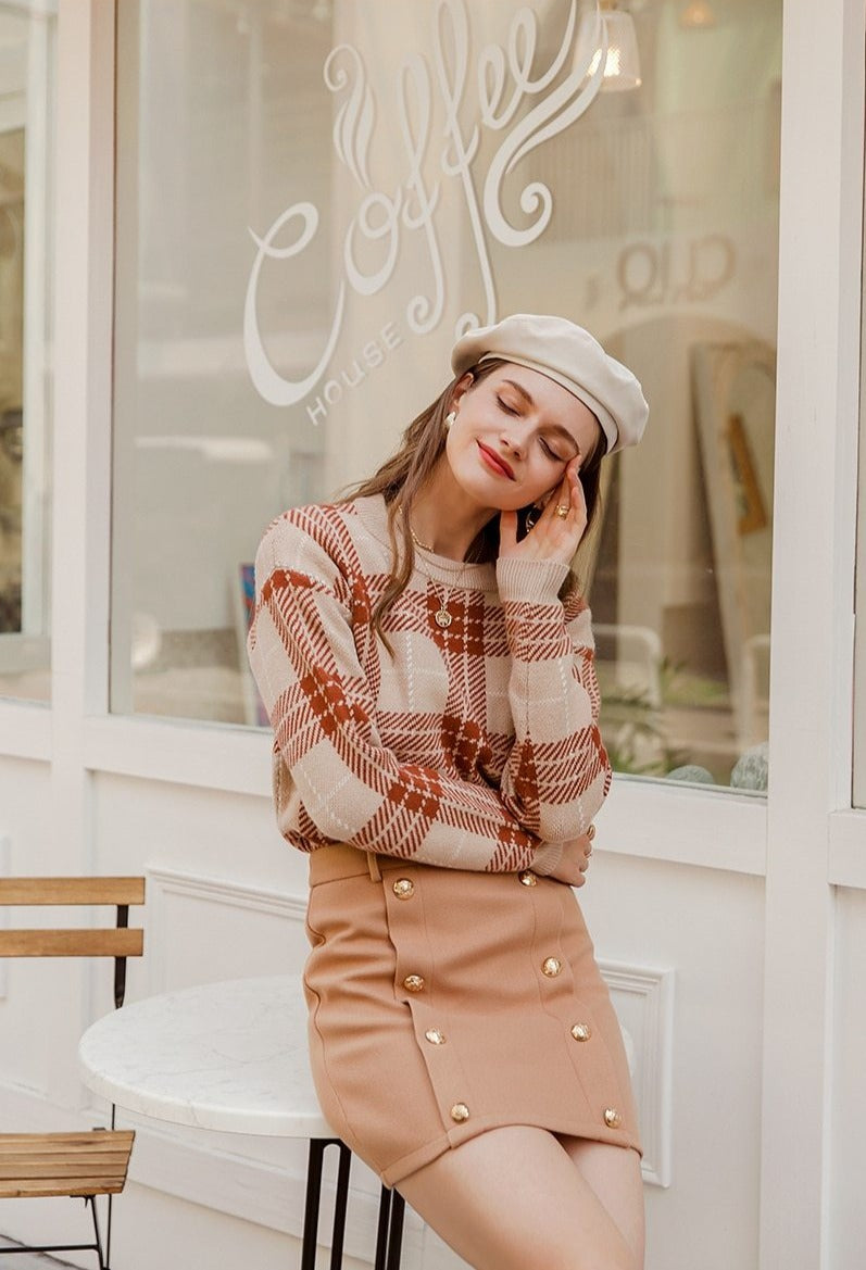 Maple Plaid O-Neck Pullover