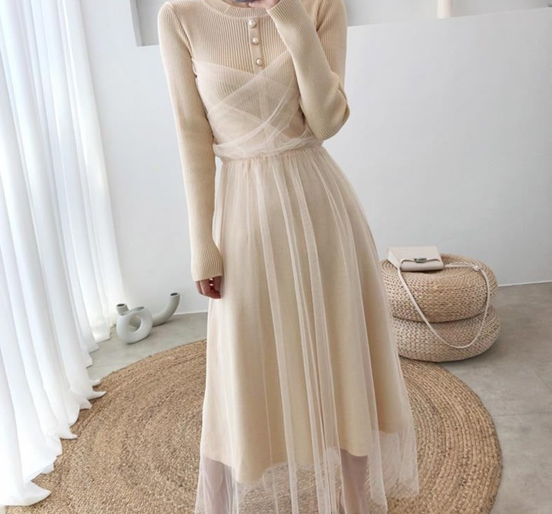 Tulle Mesh Knit Dress