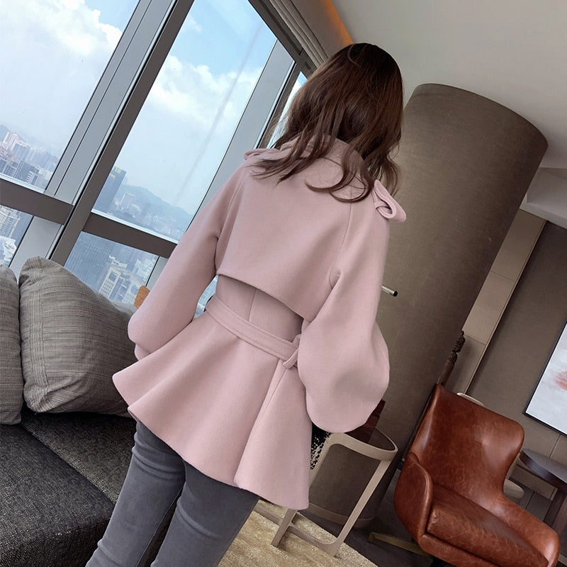 Lantern Sleeves Short Princess Wrap Coat