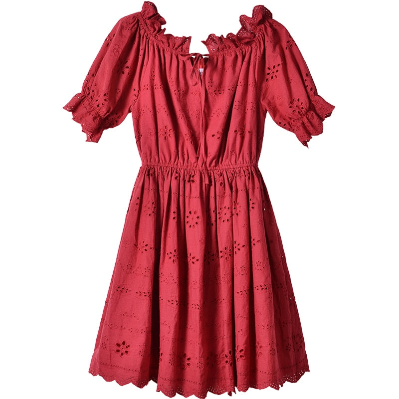 Broderie Frill Trim Mini Dress