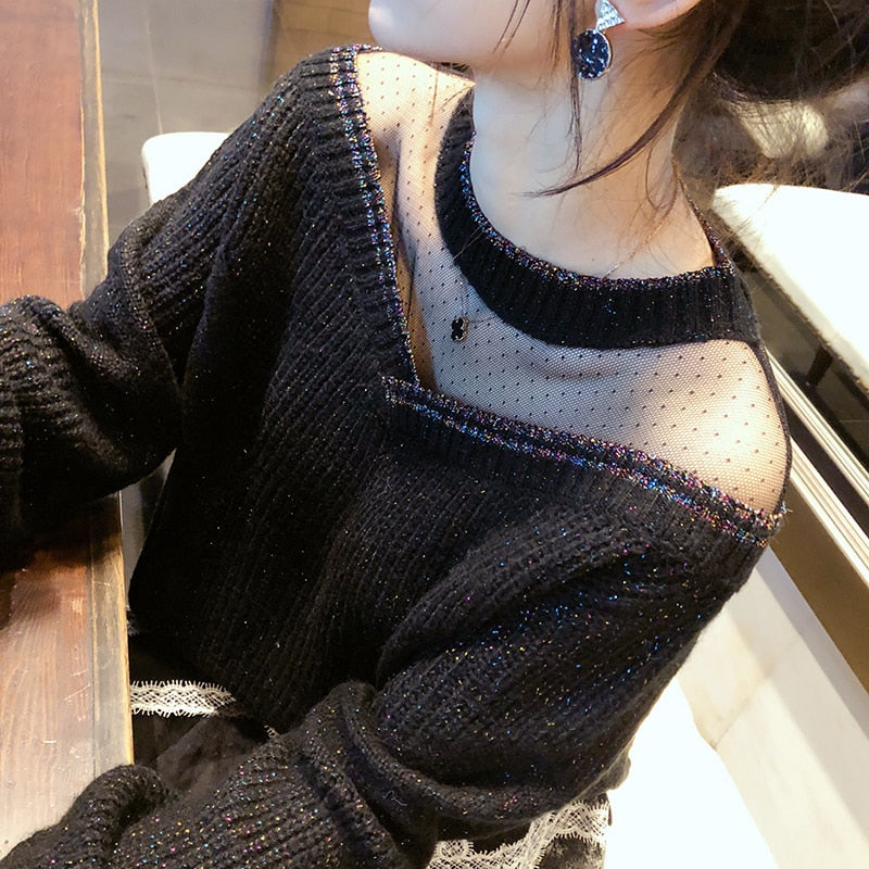 Lace Cuff Mesh Collar Sweater