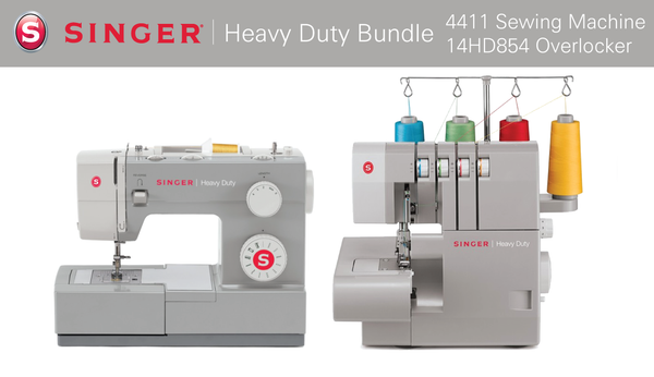 Machine - Singer Heavy Duty Bundle 4411 Sewing Machine + 14HD854 Overlocker