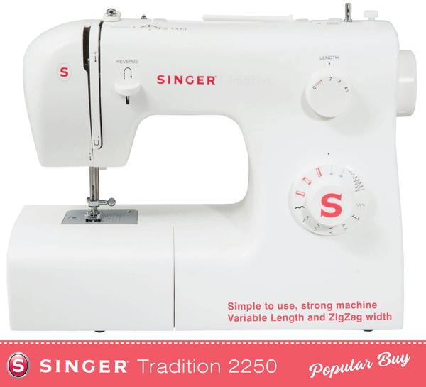 Singer Tradition 2250 Sewing Machine - Heavy duty metal frame with extra high lift foot for thicker materials