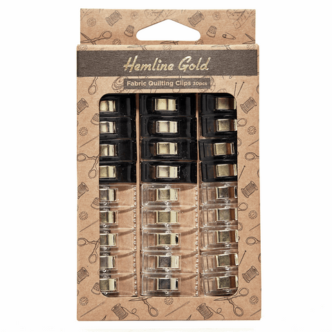 Premium Quilters Wonder Clips - Black & Clear (Pack of 30) *Hemline Gold Edition*