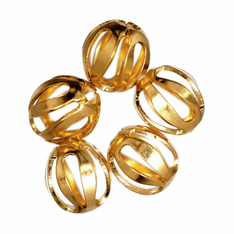 Trimits Oval Filigree Gilt Plated Beads - 7mm (Pack of 5)