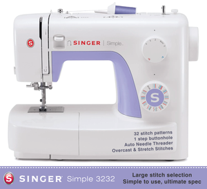 Singer Simple 3232 - Great British Sewing Bee Sewing Machine Special Buy - 32 stitch patterns with 1 step buttonhole - top spec model - can sew silk to leather