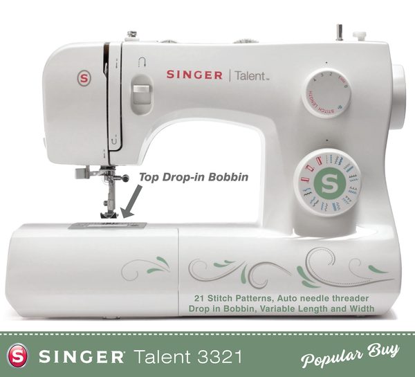 Singer Talent 3321 - Auto Threader, Drop in Bobbin, Overlocking and Stretch stitches - Preorder for February