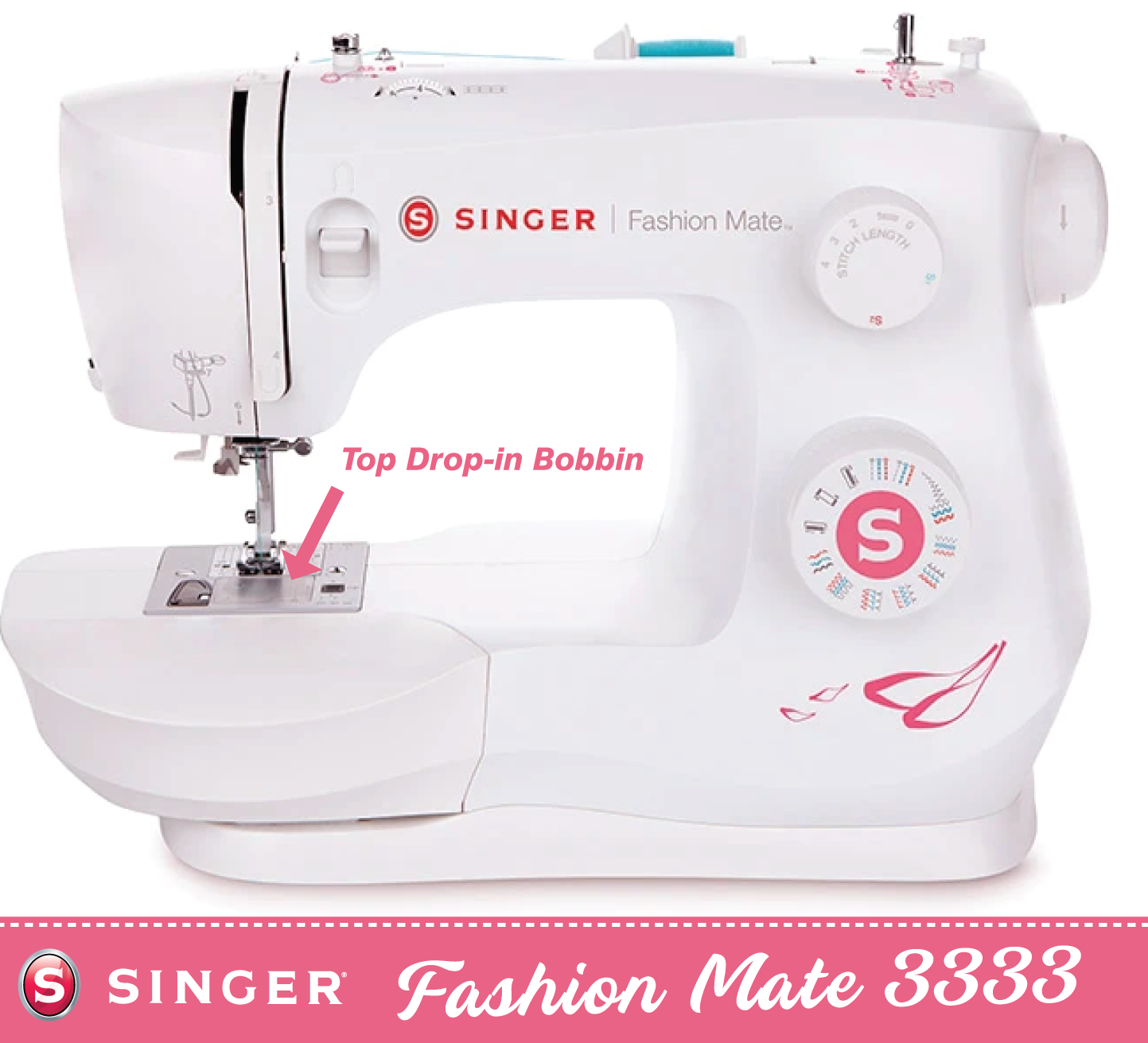 Singer Fashion Mate 3333 * latest 2021 model * with Auto needle threader and Drop and Sew bobbin - Strong metal frame. Preorder for November delivery