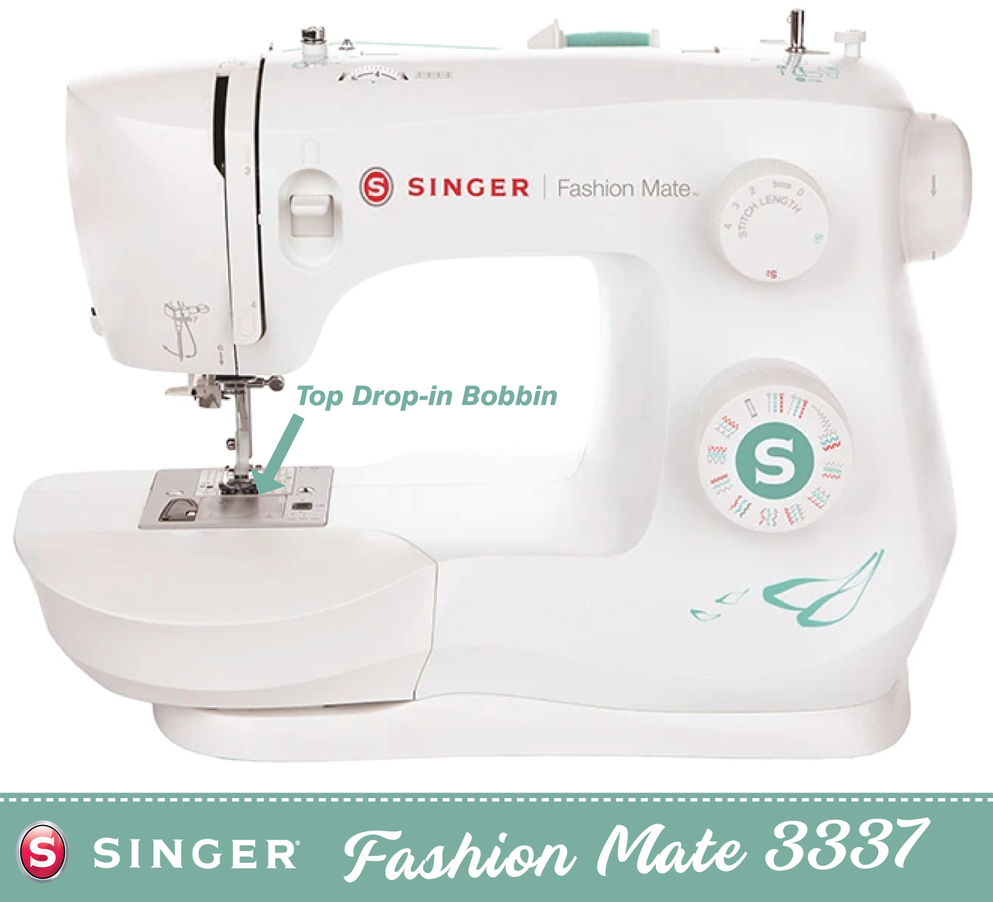 Singer Fashion Mate 3337 * latest 2021 model * - Heavy Duty Metal Frame - 1 step buttonhole, Sews Silk to Leather - Preorder for November delivery