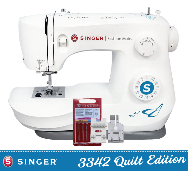 "Singer Fashion Mate 3342 Quilt Edition * offer * with 1/4"" foot, Roller foot and Quilting Needles - new 2020 model, Heavy Duty Metal Frame, 1 step buttonhole, Sews Silk to Leather, Length and Full Width Control - Preorder for September Delivery"