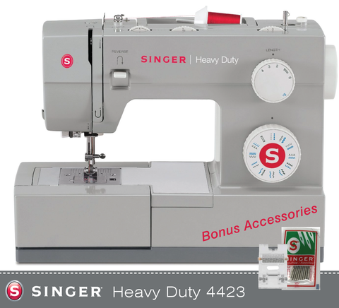 Singer Heavy Duty 4423 plus FREE Heavy Duty Roller Foot and 10 x Heavy Duty Needle Pack - Heavy Duty - 60% stronger, Auto threader, Drop Feed, Popular Machine - Preorder For December Delivery
