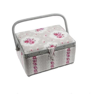 Vintage Sewing Craft Floral Storage Box - Taupe