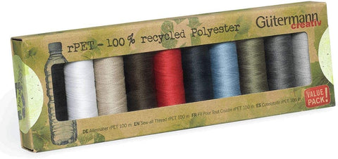 Gutermann Sew-all Thread rPET 100% recycled Polyester - 10 x 100m Assorted