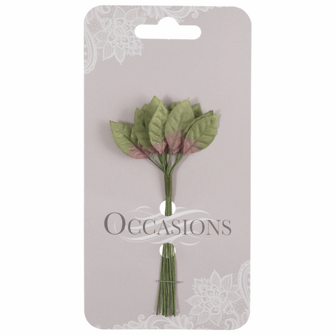 Green Rose Leaves - 25mm (Pack of 12)
