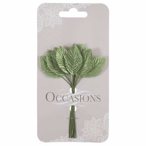 Satin Green Rose Leaves - 20mm (Pack of 12)