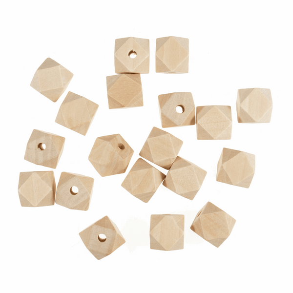 Macrame Geo Cut Centre Hole Wooden Beads x 50 - 20mm