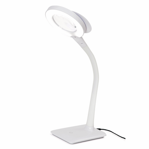 PURElite Magnifying Desk Lamp - Flexible arm with 3x and 5x magnification (mains powered)
