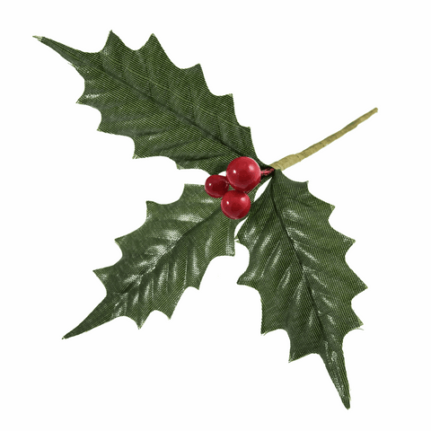 Artificial Holly Leaves with Berries - Large (Single Stem)