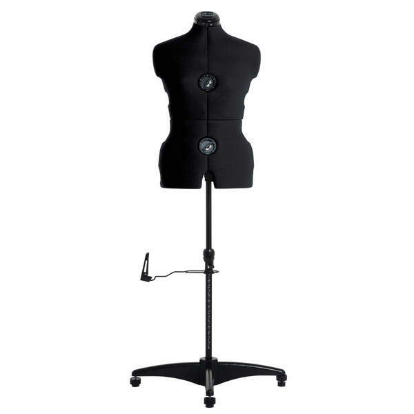 Adjustable Dress Form Deluxe with Hem Marker: Medium: Black - Dress size: 14-20 (Adjusting Form - Tailors Dummy / Mannequin)